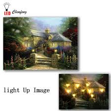 Led Lighted Canvas Painting Us 14 99 25 Off Led Lighted Canvas Printing Fairytale Castle Garden Flower Oil Painting Wall Picture Canvas Wall Art Home Decoration Living Room In