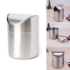 details about mini stainless steel desk trash bin countertop waste can with swing lid 1 5 l