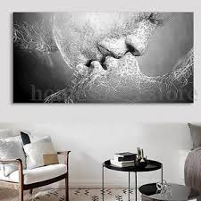 image is loading black amp white love kiss abstract art on  on canvas black and white wall art with black white love kiss abstract art on canvas painting wall art