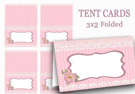 Pink Tent Cards Digital Food Label Pink Name Tags Valentine Tea Party Place Card Party Supplies Mothers Day Bridal Shower Pink Ribbon
