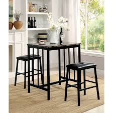 furniture of america correnzo contemporary 3 piece faux marble top counter height dining set