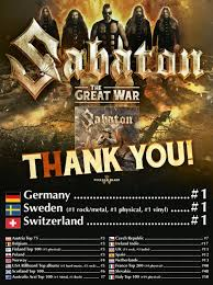 Who Is Number 1 In The Uk Charts Sabaton Enter Charts Worldwide Number 1 In Sweden Germany