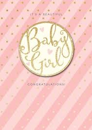 New Baby Girl Cards Its A Beautiful Baby Girl Congratulations Pink Sparkly Cute Baby Girl Card Newborn Baby Greeting Card Baby Girl Cards