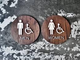 Handicap Bathroom Signs Mesmerizing ADA Braille Restroom Sign Set Men Women Handicap Bathroom Etsy