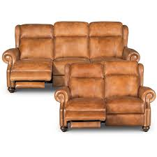 whiskey brown leather power reclining living room set hancock rc willey furniture