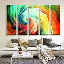 Paintings For Living Room Wall Oil Painting Canvas Abstract Colorful Whirlpool Wall Art