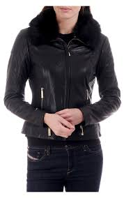 ted baker womens cleva shearling collar leather jacket black