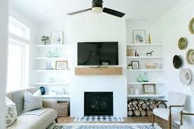white brick fireplace mantel over