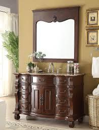 50 inch antique bathroom vanity brown finish