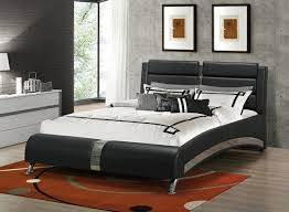 black and chrome furniture. cst300350q jeremaine collection contemporary style black leather like vinyl queen size bed set with chrome accents and furniture