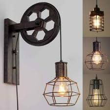 industrial rustic wall lamp single cage
