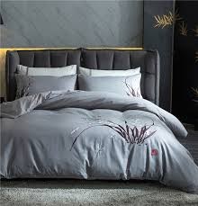 2017 luxury cotton linens bedding set bamboo leaf embroidery bed set king queen bed linens duvet