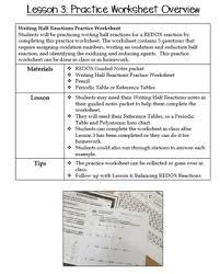 Redox Writing Half Reactions Practice Worksheet