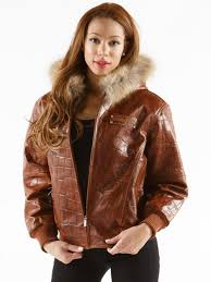 womens basic fur hood chestnut large croco