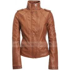 cognac faux leather jacket for women zoom cognac