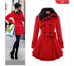 women las winter double ted wool pleated falbala trench coat jacket