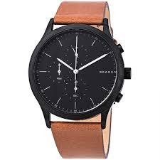 skagen skw6477 men s jorn brown chronograph leather black dial