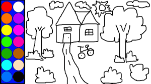 Learn Colors Lovely House Coloring Page Learn Diy Drawing And Colouring And Painting Games L