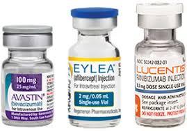 imagem com frascos de Avastin, Eylea e Lucentis