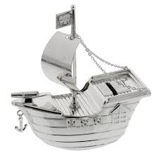 baby silver plated pirate ship money box baby boy christening baptism gift juliana christening gifts