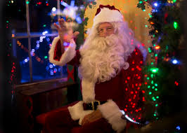 Santa Claus Sitting Tree Picture Christmas Holiday Wallpaper