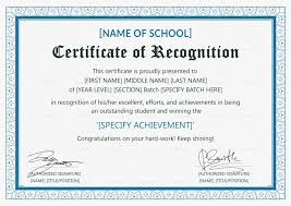 Example Of Certificate Of Recognition For Honor Students Cepoko Com