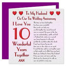 My Husband 10th Wedding Anniversary Card On Our Tin Anniversary