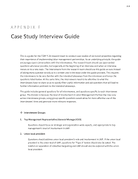 interview case appendix f case study interview guide labor management