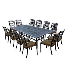 morocco aluminum 13 piece outdoor dining set with sunbrella brown cushions