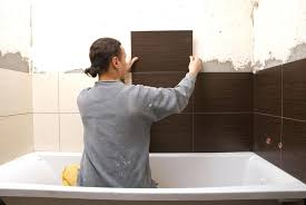 how to hang tile on wall man tiling shower surround diy tile wall art putting tile