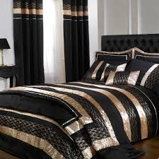 black gold midnight double duvet cover set