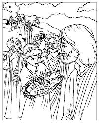 loaves and fishes coloring page two fish and five loaves of bread