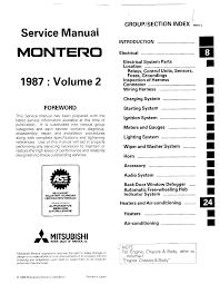 mitsubishi montero 1987 service manual