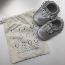 Bird Rock Baby Silver Leather Moccasins Nwt