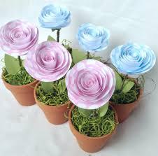 Paper Flower Pots Set Of 3 Shower Favors Party Favors Mini Flower Pot Baby