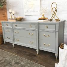 grey painted furnituregrey painted dresser with gold hardware  Vintage Refined