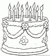 Birthday Cake Color Page Cake Coloring Pages Birthday Coloring