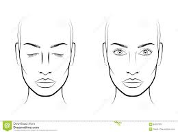 Blank Face Charts To Print Young Woman Face Chart Makeup Artist Blank Template Stock