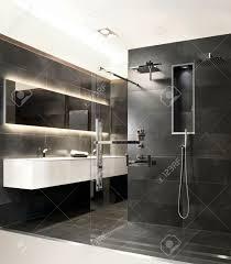 Bathroom With Gray Stone And Modern Rainshower