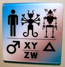 clever bathroom signs. intergalactic restroom sign, scifi museum clever bathroom signs
