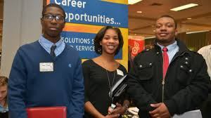 events career and student employment services western michigan three students attending the career fair at wmu