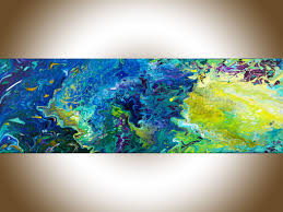 wall paintings for office. Abstract Painting, Fluid Art, Contemporary Original Wall Blue Purple Yellow, Canvas Art Office Decor By QiQiGallery Paintings For