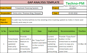 gap analysis template gap analysis template download project management templates