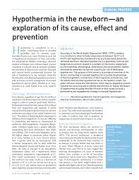 hypothermia in the newborn an exploration of its cause effect  hypothermia in the newborn an exploration of its cause effect and prevention pdf available