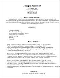 Resume For Security Officer Musiccityspiritsandcocktail New Security Officer Resume
