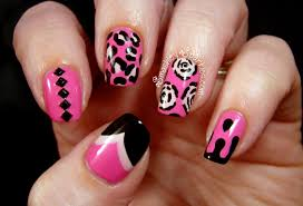 Pink Black and White Nails Art Design - YouTube