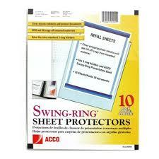 sheet protector book gbc swing ring sheet protectors a7020105