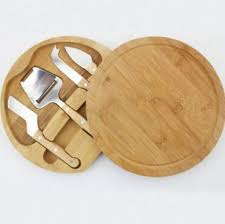 Rounded Bamboo <b>Cheese</b> Board Set with <b>4PCS Stainless Steel</b> Tools