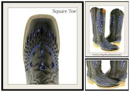 blue sequin fleur de lis inlay square toe black genuine leather cowgirl boots
