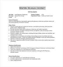 Controls Technician Job Description 20 Retail Pharmacy Technician Job  Description Sample Template Free Download